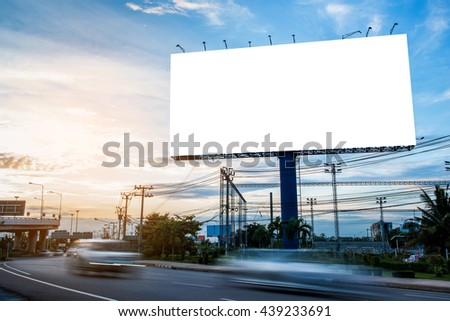 Blank billboard at dusk for advertisement, business advertising concept.  - Shutterstock ID 439233691