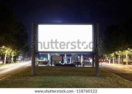 Blank billboard at night, clipping path included