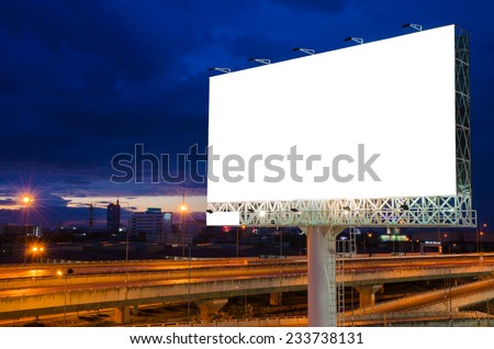 Blank billboard at night for advertisement