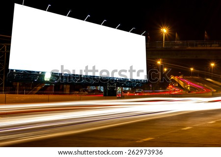 blank billboard at night time for advertisement. street light .