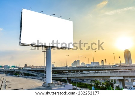 Blank billboard at twilight for advertisement. #232252177