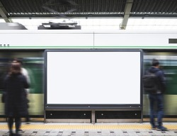 Blank Billboard Banner Light box in Subway station with blurred people Travel