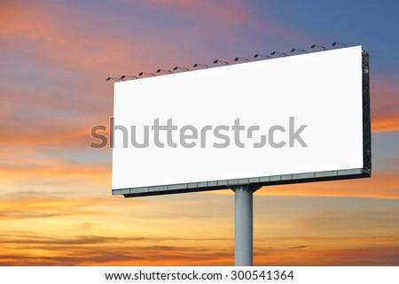 blank billboard for advertisement with beautiful twilight background - Shutterstock ID 300541364