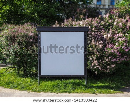 Blank billboard for outdoor advertisement on the spring branch of blossoming lilac background, an advertising mockup