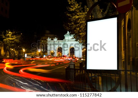 Blank Billboard in a City Night in Madrid
