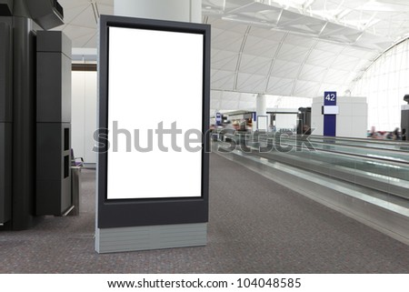 Blank Billboard in airport, shot in asia