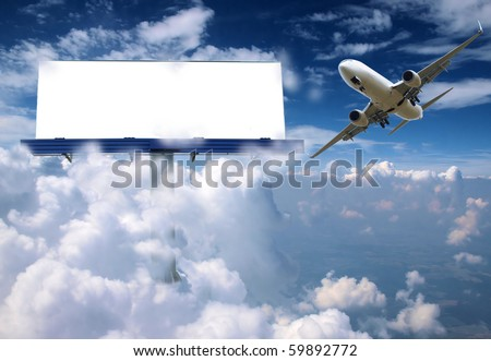 Blank billboard in clouds with airplane