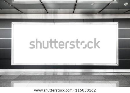 Blank billboard in modern interior hall useful for advertising