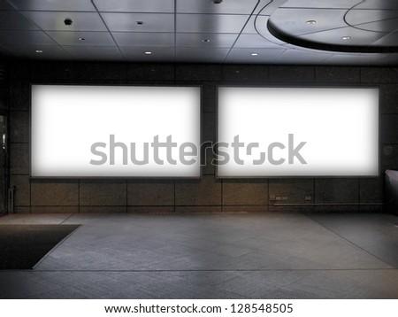 blank billboard in public trainstation hall