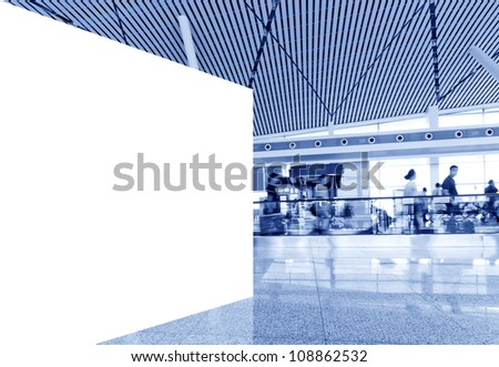 Blank billboard in Shanghai Pudong Airport Terminal
