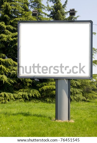 blank billboard in the public park