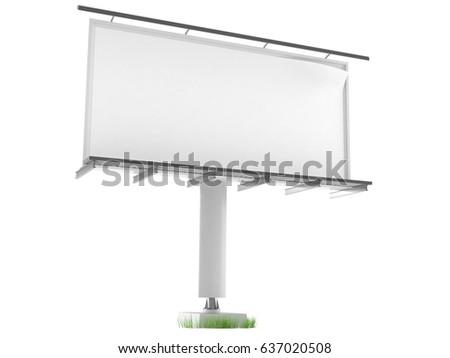 Blank billboard isolated on white background. 3d illustration