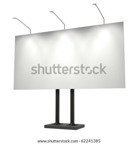 Blank billboard, isolated on white, 3d illustration, good for night scene
