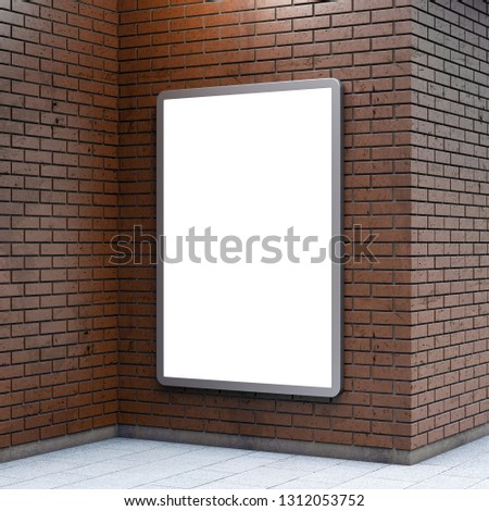 Blank billboard lightboxe or urban media LCD screen on brown brick wall. Empty street advertising signboard. 3D illustration, copy space