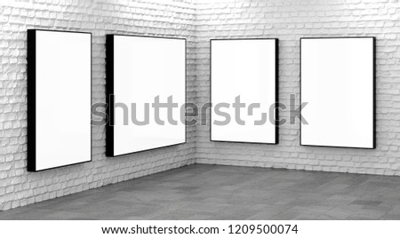 Blank billboard lightboxes or LCD screens on white brick wall. Empty street advertising signboards in room corner. 3D illustration