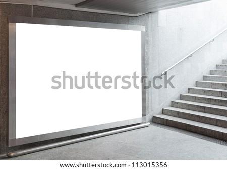 Blank billboard located in underground hall ストックフォト ©