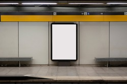 Blank billboard mock up in a subway station, underground