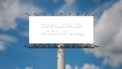 Blank billboard mockup outdoor advertising at blue sky with clouds background. Space available for advertising ro your design. psd
