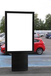 Blank billboard on a parking lot