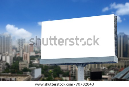 Blank billboard on blue sky - stock photo