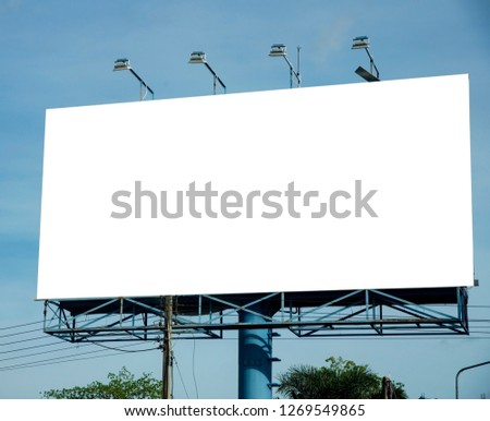 Blank billboard on blue sky background for new advertisement
