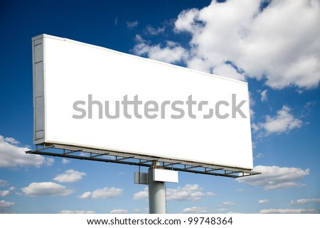 Blank billboard on blue sky useful for your advertising