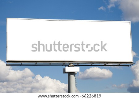 Blank billboard on blue sky with clouds. Useful for your advertisement