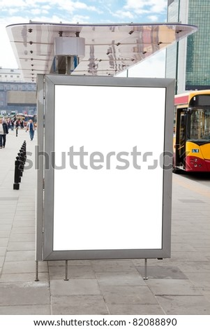 Blank billboard on bus stop in a city for your advertising