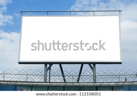 blank billboard on the sky background