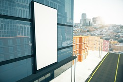 Blank billboard on the wall of  business center, mock up 3D Render