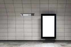 Blank billboard poster banner vertical mockup in metro station.