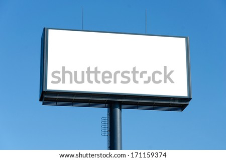 Blank billboard ready for new advertisement and blue sky. - Shutterstock ID 171159374