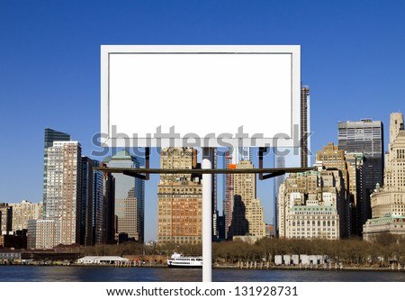 Blank billboard sign against New York City skyline background