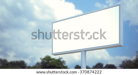 Blank billboard sign in forest and blue sky. Wide, blurred background. 3d render - Shutterstock ID 370874222