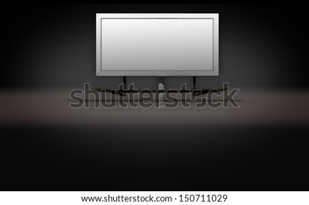 Blank billboard sign on dark 3d background stage