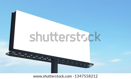 Blank billboard template with selection path. on blue sky background. 3d render.
