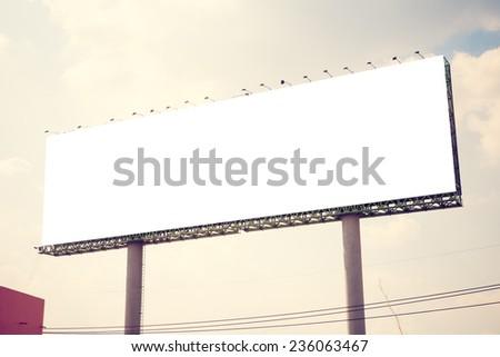 blank billboard. vintage filter.