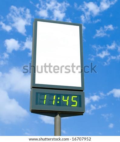 Blank billboard with digital clock