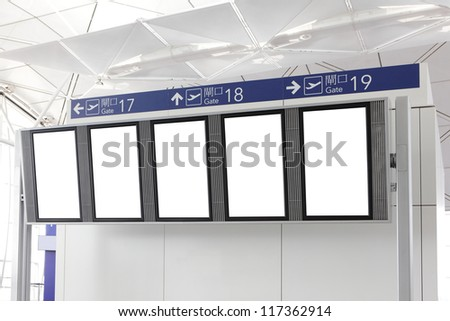 Blank Billboard with empty copy space in airport, shot in asia, china