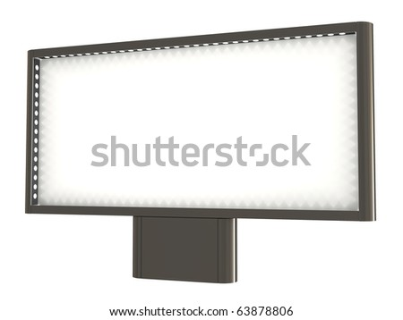 Blank billboard, with lights, clipping path included, 3d illustration, isolated on white
