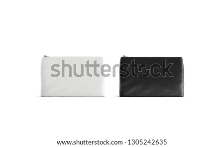 Blank black and white canvas pouch mockup, isolated, front view, 3d rendering. Empty small bag mock up set. Clear handbag for accessories or cosmetics template. Cotton sac with zipper.