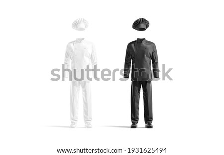 Blank black and white chef uniform mockup set, front view, 3d rendering. Empty protection chief-cooker costume mock up, isolated. Clear coatee, toque and pants for kitchen cookey template.