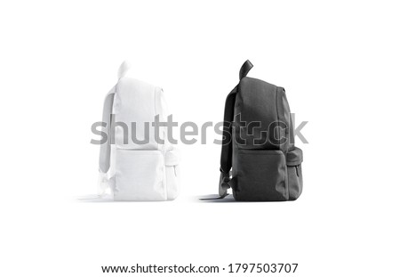 Blank black and white closed backpack with zipper mockup set, 3d rendering. Empty cloth rucksack for school or sport mock up, side view, isolated. Clear casual textile knapsack with strap template. Stockfoto ©