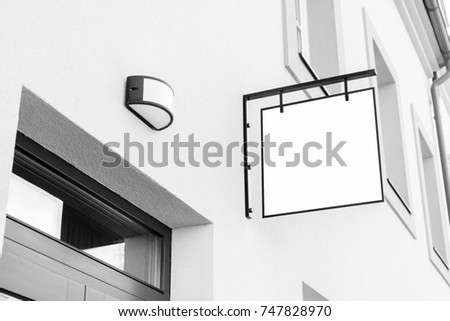 Blank black and white outdoor business signage mock up to add company logo #747828970