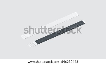 Blank black and white paper wristband mockup, 3d rendering. Empty event wrist band design mock up. Plain hand bracelets template, isolated. Clear bangle wrstlet set with sticker. Concert armlet Foto stock ©