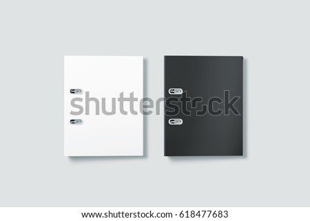 Blank black and white ring binder folder cover mockup top view, 3d rendering. Self-binder mock up with stack of a4 paper. Office supply cardboard folder branding presentation. Desk lever arch file.
