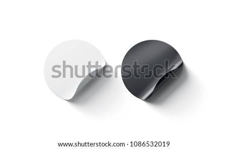 Blank black and white round adhesive sticker mockup with curved corner. Empty circle sticky label mock up with curl. Clear adherent tag template for glass door or wall. #1086532019