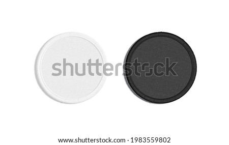 Blank black and white round embroidered patch mockup, top view, 3d rendering. Empty cloth attachment for sing icon mock up, isolated. Clear circular stitches symbolic template.