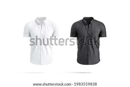 Blank black and white short sleeve button down shirt mockup, 3d rendering. Empty fabric t-shirt with pocket mock up, isolated, front view. Clear men linen shirt outfit template.