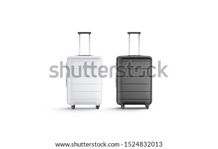 Blank black and white suitcase with handle mockup set stand isolated, 3d rendering. Empty traveler baggage mock up, front view. Clear plastic valise for things pac mokcup template.